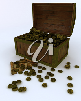 3D render of Treasure chest full of gold coins with map and key