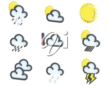 3D render of weather icons set 1