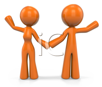 Royalty Free Clipart Image of an Orange Woman and Man Waving.