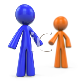 Royalty Free Clipart Image of a Blue Man in Front of the Orange Man