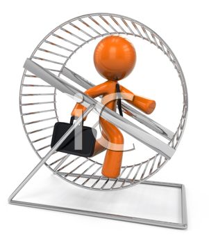 Royalty Free Clipart Image of an Orange Man on a Hamster Wheel