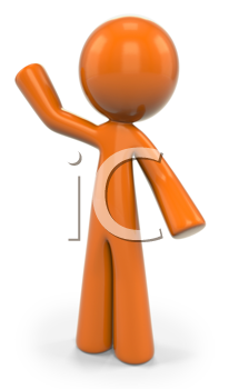 Royalty Free Clipart Image of an Orange Man Waving