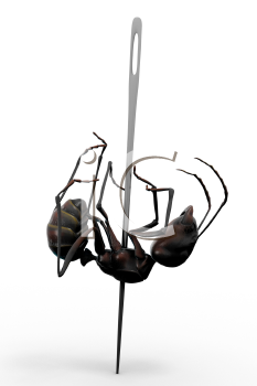 Royalty Free Clipart Image of a worker ant pinned down.