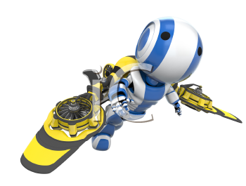 A blue robot flying in a yellow and black rocket pack, flying free.