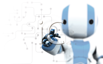 A blue and white robot pointing his finger against a transparent window of circuitry and programming. Slight DOF