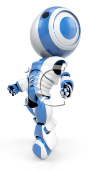 A blue robot drifting up, a view shown from the side. He almost appears weightless.