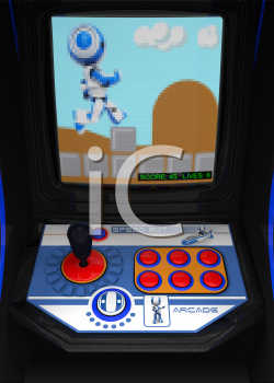 A retro arcade gaming console. Theme involving a running robot. Pixelization of TV screen somewhat exadurated to maintain retro gaming effect.