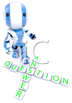 A blue robot behind a crossword puzzle arrangement, with the words question and answer crossed at the S
