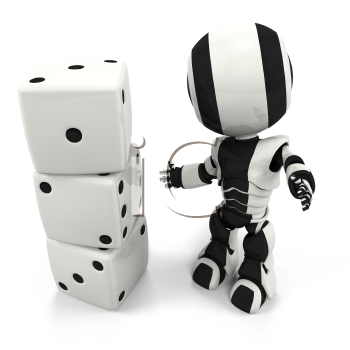 A robot standing in front of dice, with the numbers One, Two, and Three.