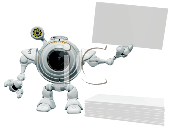 Royalty Free Clipart Image of a A 3d robot web cam holding up a blank business card with a pile of business cards below him.
