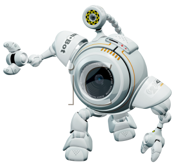 Royalty Free Clipart Image of a robot web cam.