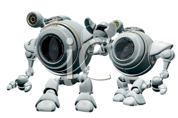 Royalty Free Clipart Image of two robot web cams walking.