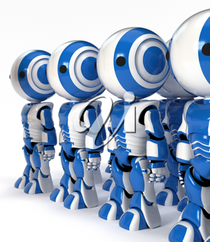 Royalty Free Clipart Image of a Group of Robots