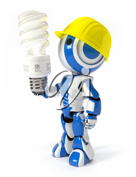 Royalty Free Clipart Image of a Robot Wearing a Hardhat and Holding a Lightbulb