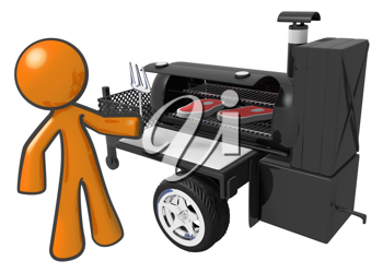 Royalty Free Clipart Image of an Orange Man Barbecuing Steaks