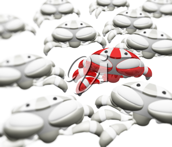 Royalty Free Clipart Image of an Army of Robot Crabs