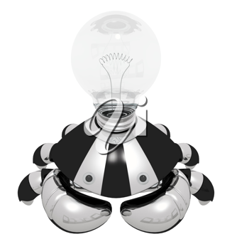 Royalty Free Clipart Image of a Robot Crab with a Light Bulb