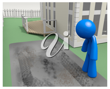 Royalty Free Clipart Image of a blue man looking at a dirty concrete driveway