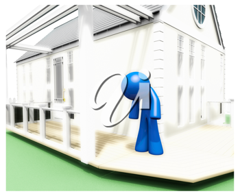 Royalty Free Clipart Image of a Blue Man Standing on the Porch of a House