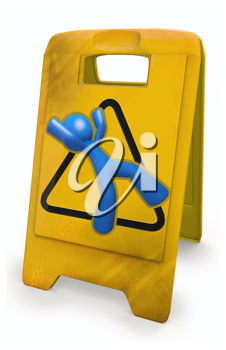 Royalty Free Clipart Image of a Blue Man Danger Sign