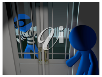 Royalty Free Clipart Image of a Blue Man Robber Outside of a House