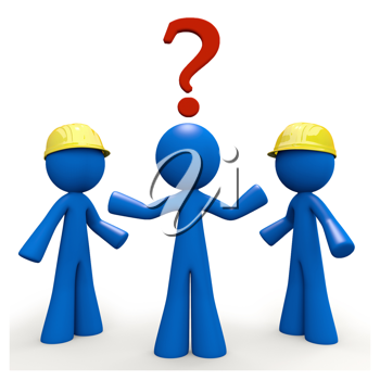 Royalty Free Clipart Image of a Blue Man Trying to Decide Between Contractors
