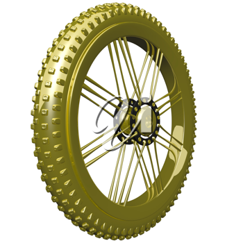 Golden mountain bike tire, such as you might use for a trophy.