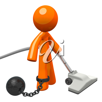 Man with a ball and chain, vacuuming. Definitely hard labor! Suggests the boring captive feeling of domestic chores.