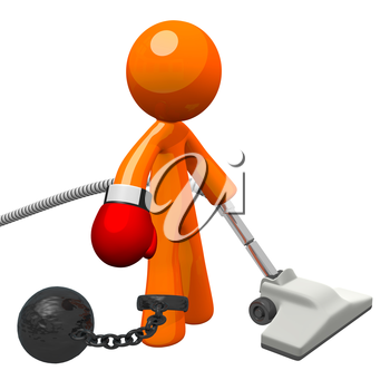 Orange man with a boxing glove and a vacuum cleaner, held by a ball and chain. Oppressive work for him no doubt! Denotes substandard workplace situations and employee frustration.