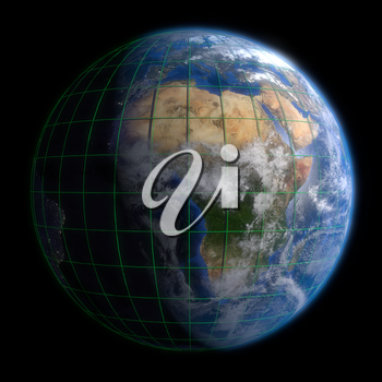Earth Globe Africa - Clouds and Lines. 3d Render using NASA texture maps.