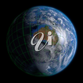 Earth Globe Australia - Clouds and Lines. 3d Render using NASA texture maps.