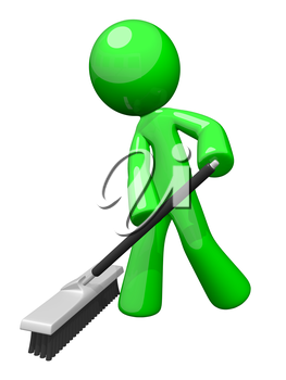 Environmental cleaning and sanitation services. A green man pushing a broom. Great example of caring for the eco system and envoronment.