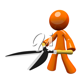 3d orange man holding hedge trimmers or hedge clippers, concept, oversized tool.