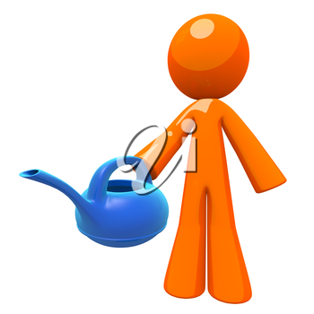 Gardener and gardenging concept, 3d orange man holding a watering can. Can also be used for any environmental and watering concept, such as utilities and resource management.
