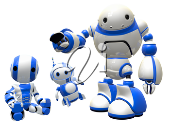 Three robot friends sitting together in unity, happy and together.