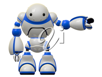 Large robot character who depicts computer software and security, pointing to the side.
