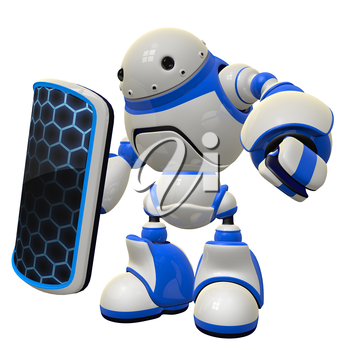 Robot with shield, a fictional concept in computer security.