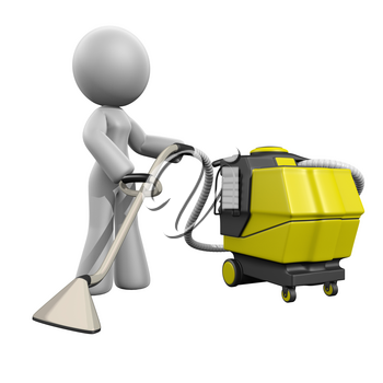 3d lady carpet extractor extracting what could be a carpet.