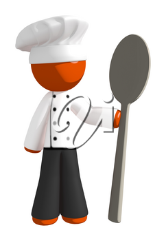 Orange Man Chef with Giant Spoon