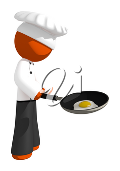 Orange Man Chef with Frying Pan and Egg Cooking