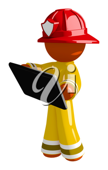 Orange Man Firefighter with Tablet