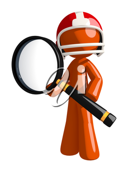 Super Bowl 50 football player detective holding magnifying glass.