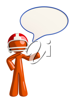 Football player orange man player announcer with word bubble.