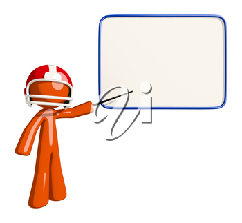 Football player orange man teaching on the game or presenting strategies to his team.