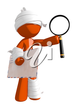 Personal Injury Victim with Envelope and Magnifying Glass