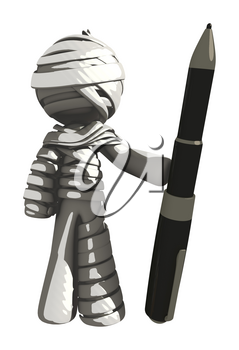 Mummy or Personal Injury Concept Holding Large Pen