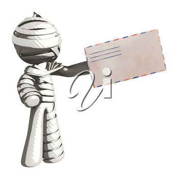 Mummy or Personal Injury Concept Handing an Envelope to Someone