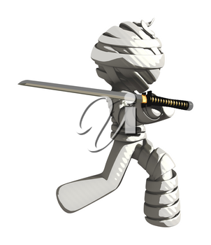 Mummy or Personal Injury Concept Posing Defensively with Ninja Sword