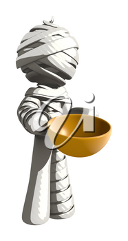 Mummy or Personal Injury Concept Holding a Bowl