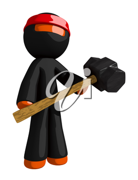 Orange Man Ninja Warrior Warrior Holding Giant Sledge Hammer